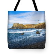 Yaquina Lighthouse On Top Of Rocky Beach Tote Bag