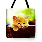 Yellow Kitten Tote Bag