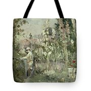 Young Boy In The Hollyhocks Tote Bag