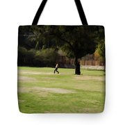 Young Boys Playing Cricket In A Park Near Delhi Zoo Tote Bag