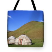 Yurts In The Tash Rabat Valley Of Kyrgyzstan  Tote Bag