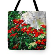 2013 010 Poinsettias And Dots Conservatory At The Us Botanic Garden Washington Dc Tote Bag