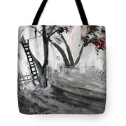 2013 058 Tree And Ladder Alexandria Virginia Silver Black White Red Tote Bag