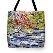 2014 19 Silver And Blue Stairs To Pink And Yellow Woods Srpsko Sarajevo Tote Bag