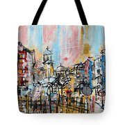 2014 23 City Street With Church At Sunset Srpsko Sarajevo Tote Bag