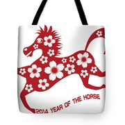 2014 Abstract Red Chinese Horse With Flower Illustration Tote Bag