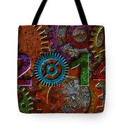 2014 Rusty Gear On Grunge Texture Background Tote Bag