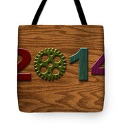 2014 Wooden Gear On Wood Grain Texture Background Tote Bag