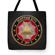 20th Degree - Master Of The Symbolic Lodge Jewel On Black Leather Tote Bag