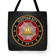 21st Degree -  Noachite Or Prussian Knight Jewel On Black Leather Tote Bag