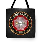 22nd Degree - Knight Of The Royal Axe Jewel On Black Leather Tote Bag