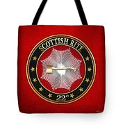 22nd Degree - Knight Of The Royal Axe Jewel On Red Leather Tote Bag
