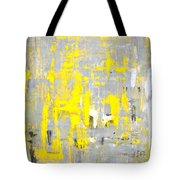 Imagination - Grey And Yellow Abstract Art Painting Tote Bag