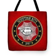 23rd Degree - Chief Of The Tabernacle Jewel On Red Leather Tote Bag