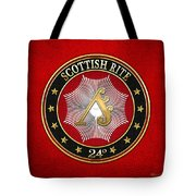 24th Degree - Prince Of The Tabernacle Jewel On Red Leather Tote Bag