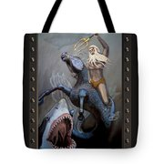 24x36 Neptune Battles The Great Whites Tote Bag