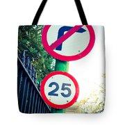 25 Mph Road Sign Tote Bag
