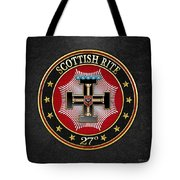 27th Degree - Knight Of The Sun Or Prince Adept Jewel On Black Leather Tote Bag