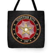 28th Degree - Knight Commander Of The Temple Jewel On Black Leather Tote Bag