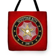28th Degree - Knight Commander Of The Temple Jewel On Red Leather Tote Bag