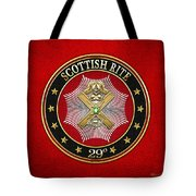 29th Degree - Scottish Knight Of Saint Andrew Jewel On Red Leather Tote Bag
