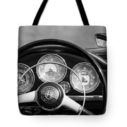 1961 Alfa Romeo Giulietta Spider Steering Wheel Emblem -1185bw Tote Bag