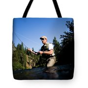 A Fly-fisherman In The Truckee River Tote Bag