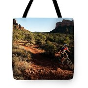 A Middle Age Man Rides His Mountain Tote Bag