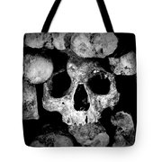 Altered Image Of Skulls And Bones In The Catacombs Of Paris France Tote Bag