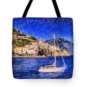 Amalfi Town In Italy Tote Bag