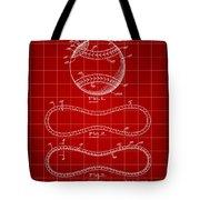 Baseball Patent 1927 - Red Tote Bag
