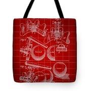 Billiard Bridge Patent 1910 - Red Tote Bag