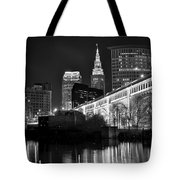 Black And White Cleveland Iconic Scene Tote Bag