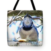 Blue Jay With Bread  Tote Bag