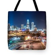 Charlotte City Skyline Night Scene Tote Bag