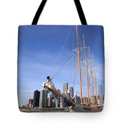 Chicago Skyline And Tall Ship Tote Bag