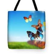 Colorful Buttefly Spring Field Tote Bag