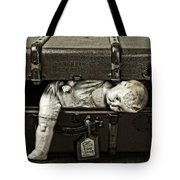 Doll In Suitcase Tote Bag