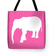 Elephant In Pink And White Tote Bag