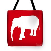 Elephant In Red And White Tote Bag