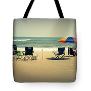3 Empty Beach Chairs Tote Bag
