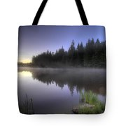 First Light At Trillium Lake With Reflection Tote Bag
