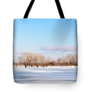 Fishermen On The Frozen River Tote Bag