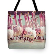 Flamingos On Lake In Andes Tote Bag