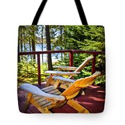 Forest Cottage Deck And Chairs Tote Bag