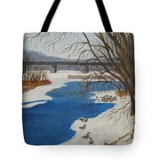 Geese On The Grand River Tote Bag
