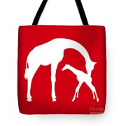 Giraffe In Red And White Tote Bag