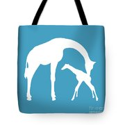 Giraffe In White And Turquoise Tote Bag