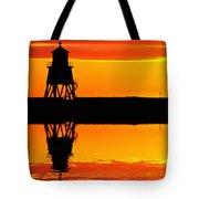 Groyne Lighthouse At Sunrise Tote Bag