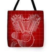 Harley Davidson Engine Patent 1919 - Red Tote Bag
